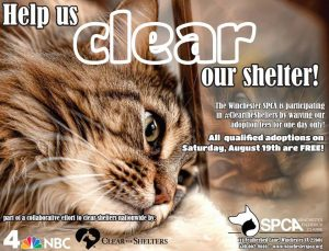 Help us CLEAR THE SHELTER by adopting a pet with NO ADOPTION FEE!